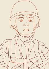 Afghan boy, 2015 – 2016 Ricamo su carta, filo rosso egiziano formato 21×29 cm