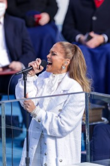 WASHINGTON, DC - JANUARY 20: Jennifer Lopez sings during the inauguration of U.S. President-elect Joe Biden on the West Front of the U.S. Capitol on January 20, 2021 in Washington, DC. During today's inauguration ceremony Joe Biden becomes the 46th president of the United States. (Photo by Alex Wong/Getty Images)