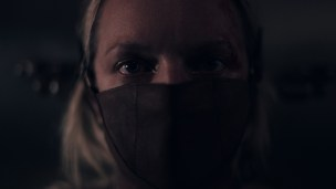 The Handmaidís Tale -- ìThe Crossingî - Episode 403 -- Captured by Gilead, June faces a vengeful Aunt Lydia and endures a torturous interrogation. Nick and Lawrence collaborate to protect June. In Toronto, Luke struggles with how to help June and Hannah. June (Elisabeth Moss), shown. (Photo by: Hulu)