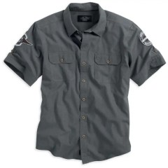 Men's Plaid Short Sleeve Woven Shirt with Sleeve Patches