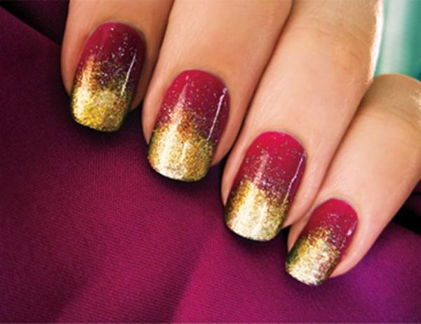Dark Red Nails With A Golden Glitz