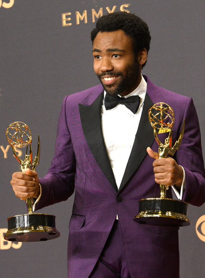 """Donald Glover won Emmy awards for Outstanding Lead Actor in a Comedy Series for his role on """"Atlanta"""" and Outstanding Directing for a Comedy Series for an episode of """"Atlanta"""" at the 69th Emmy Awards on Sunday, Sept. 17, 2017 at the Microsoft Theater in Los Angeles, California. (Photo by Michael Owen Baker / SCNG)"""