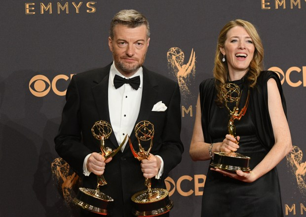 "Charlie Brooker won the Emmy award for Outstanding Writing for a Limited Series, Movie or a Dramatic Special for ""Black Mirror"" at the 69th Emmy Awards on Sunday, Sept. 17, 2017 at the Microsoft Theater in Los Angeles, California. (Photo by Michael Owen Baker / SCNG)"