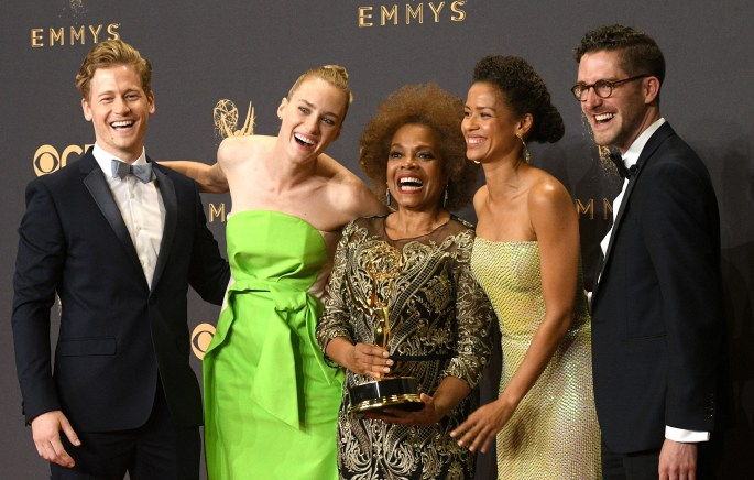 """The cast and crew of """"Black Mirror: San Junipero"""" won the Emmy award for Outstanding Television Movie at the 69th Emmy Awards on Sunday, Sept. 17, 2017 at the Microsoft Theater in Los Angeles, California. (Photo by Michael Owen Baker / SCNG)"""