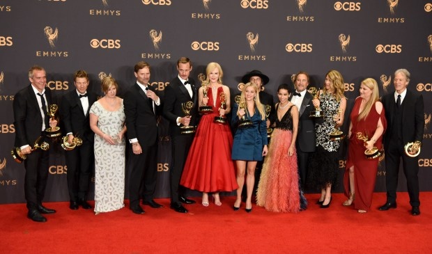 "The cast and crew of ""Big Little Lies"" won the Emmy award for Outstanding Limited Series at the 69th Emmy Awards on Sunday, Sept. 17, 2017 at the Microsoft Theater in Los Angeles, California. (Photo by Michael Owen Baker / SCNG)"