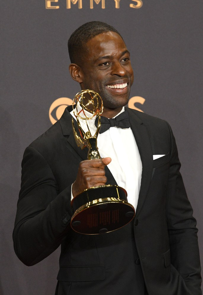 """Sterling K. Brown won the Emmy award for Outstanding Lead Actor in a Drama Series for his role on """"This Is Us"""" at the 69th Emmy Awards on Sunday, Sept. 17, 2017 at the Microsoft Theater in Los Angeles, California. (Photo by Michael Owen Baker / SCNG)"""