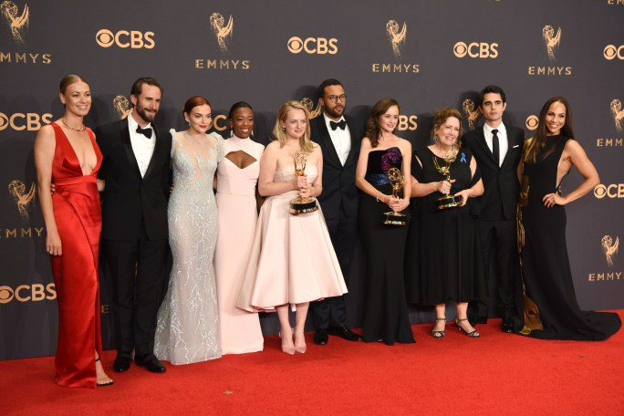 """The cast of """"The Handmaid's Tale"""" won the Emmy award for Outstanding Drama Series at the 69th Emmy Awards on Sunday, Sept. 17, 2017 at the Microsoft Theater in Los Angeles, California. (Photo by Michael Owen Baker / SCNG)"""