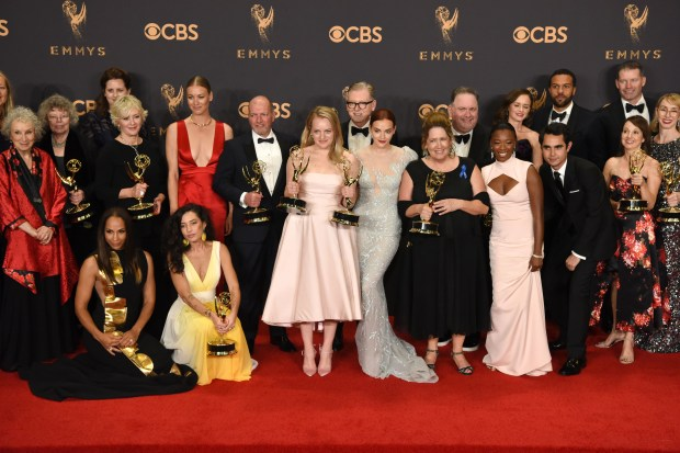 "The cast and crew of ""The Handmaid's Tale"" won the Emmy award for Outstanding Drama Series at the 69th Emmy Awards on Sunday, Sept. 17, 2017 at the Microsoft Theater in Los Angeles, California. (Photo by Michael Owen Baker / SCNG)"