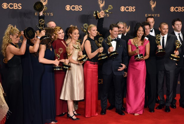 "The cast and crew of ""The Voice"" won the Emmy award for Outstanding Outstanding Reality Competition Series at the 69th Emmy Awards on Sunday, Sept. 17, 2017 at the Microsoft Theater in Los Angeles, California. (Photo by Michael Owen Baker / SCNG)"