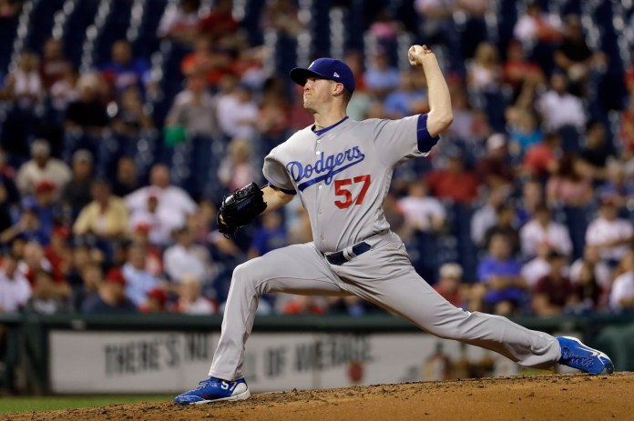 Los Angeles Dodgers' Alex Wood pitches during the third inning of a baseball game against the Philadelphia Phillies, Wednesday, Sept. 20, 2017, in Philadelphia. (AP Photo/Matt Slocum)