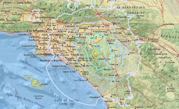A 4.0-magnitude earthquake that struck at 2:09 a.m. Thursday, Jan. 25, 2018, near Temescal was felt over a wide area of Southern California. (Map courtesy of the USGS)