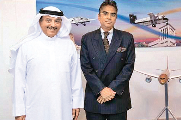 Ambassador Dr Saj Mendis with the Chief Executive Officer of Gulf Air, Al Musallam, during the meeting in the Kingdom of Bahrain