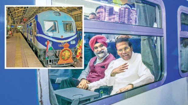 President Maithripala Sirisena and Indian High Commissioner Taranjit Singh Sandu at the Colombo Fort station on board the new train to Polonnaruwa. Pictures:President's Media Division.