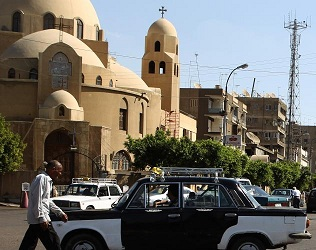 Two Copts were injured as a result of violence brought about by the predominantly conservative Muslim crowd barring the entrance. (KHALED DESOUKI/ AFP PHOTO / GETTY IMAGES)
