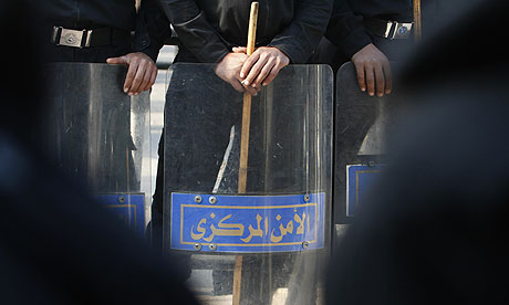 Egyptian riot police in Cairo. (AFP / GETTY IMAGES / Mohammed Abed)