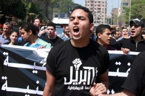 Around 40 members of the 6 April Youth Movement began a hunger strike in solidarity with four members who have been detained since 29 March (Photo by Mohamed Omar)