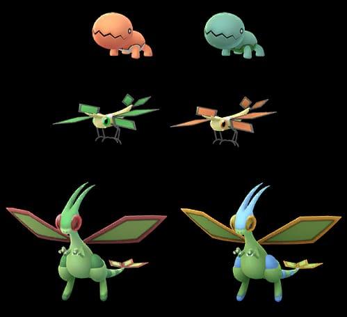 De shiny variant van Trapinch en zijn evoluties