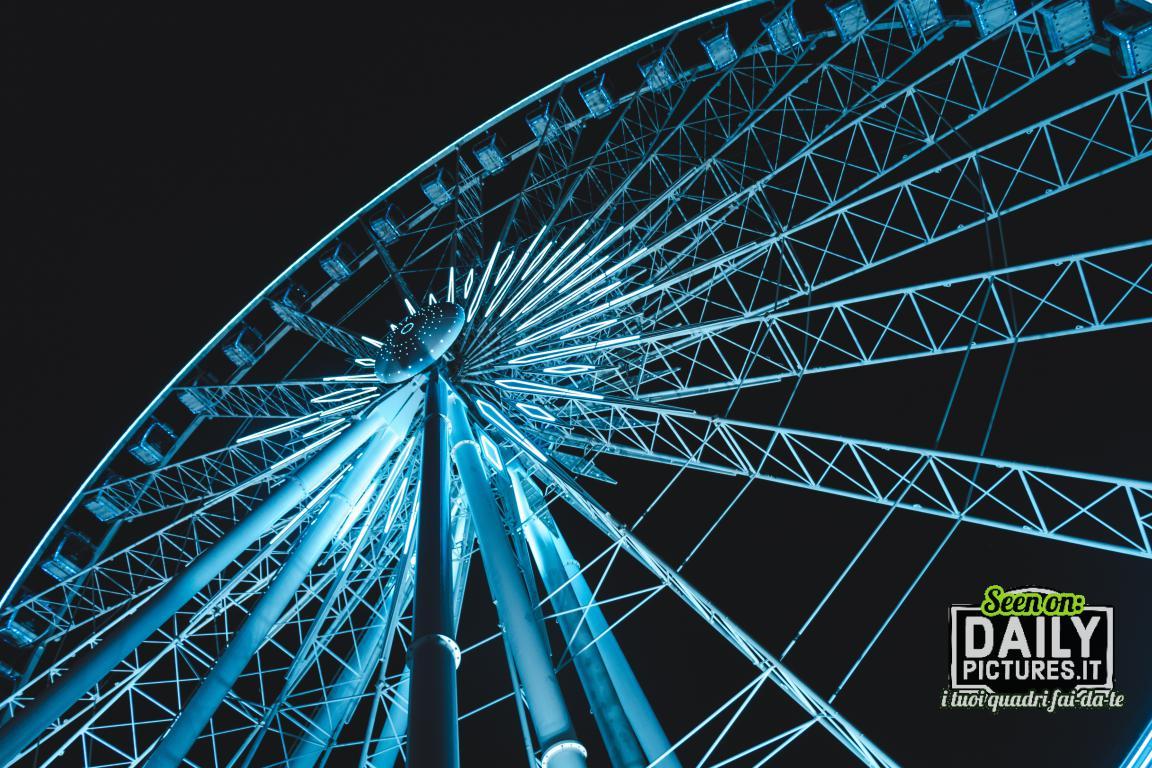 La ruota panoramica è una struttura circolare metallica a cui è inserito un numero variabile di cabine.