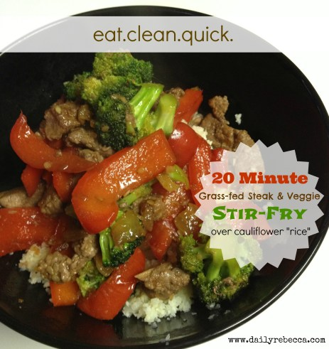 "Steak & veggie stir-fry over cauliflower ""rice"""