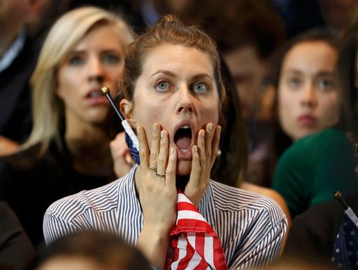 Supporters of U.S. Democratic presidential nominee Hillary Clinton react at her election night rally in Manhattan, New York