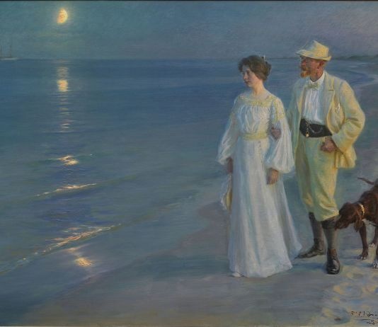 Art and culture in Denmark - Summer evening at Skagen beach. Painting by danish artist O. S. Krøyer, 1899