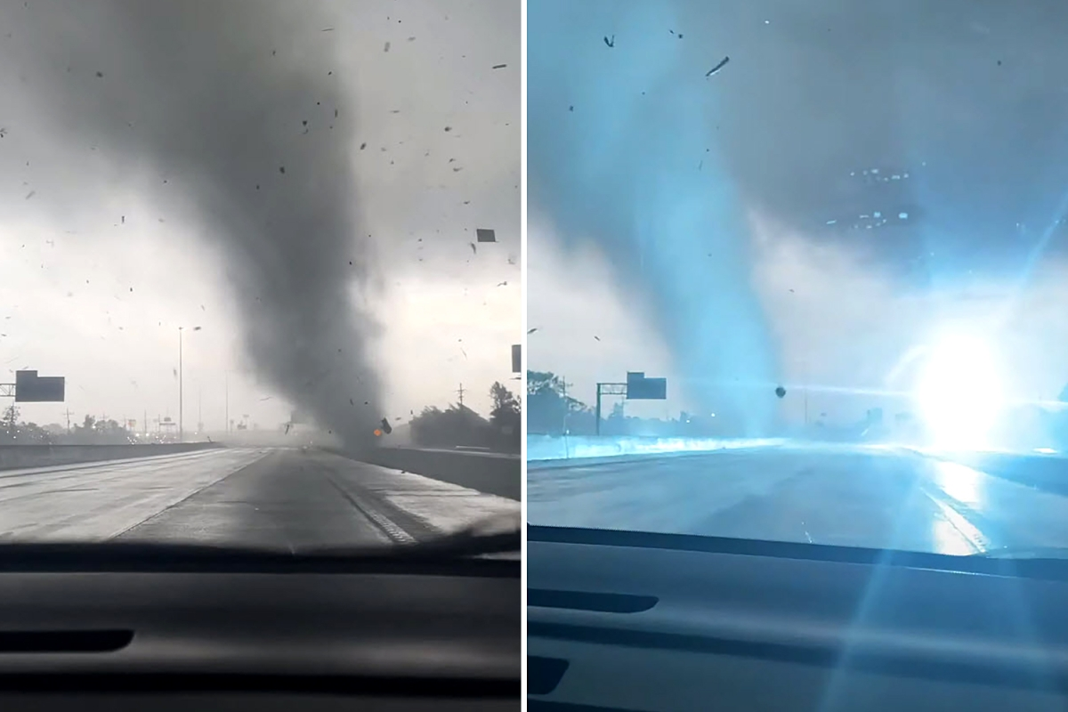Moment crazy tornado barrels across Orange County, Texas, highway sparking blinding explosions leaving drivers stunned
