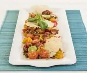 Heriloom Tomato Salad in a balsamic caper vinaigrette with Parmigiano Crisps www.dailytiramisu.com