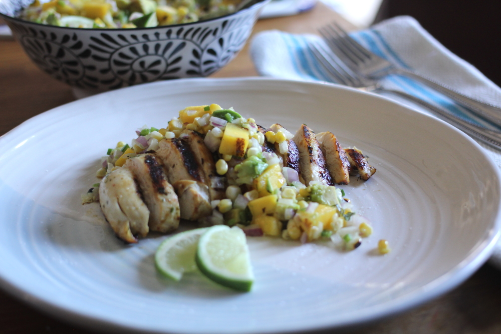Margarita-Marinated Chicken with Grilled Mango, Avocado and Corn Salsa www.dailytiramisu.com