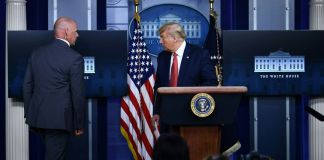Trump exits briefing room after shooting near the White House