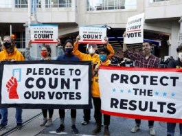Trump supporters protest at Arizona vote counting centre