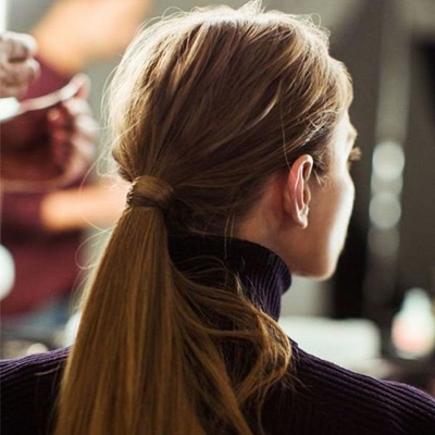 #10 If you have thick and voluminous hair, wear a low pony at the nape of your neck. Use a soft scrunchie instead of an elastic to tie your hair.
