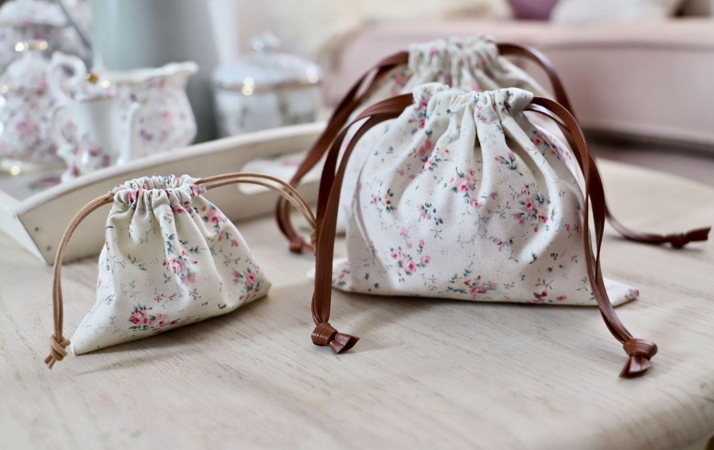 DIY drawstring bag, floral fabric