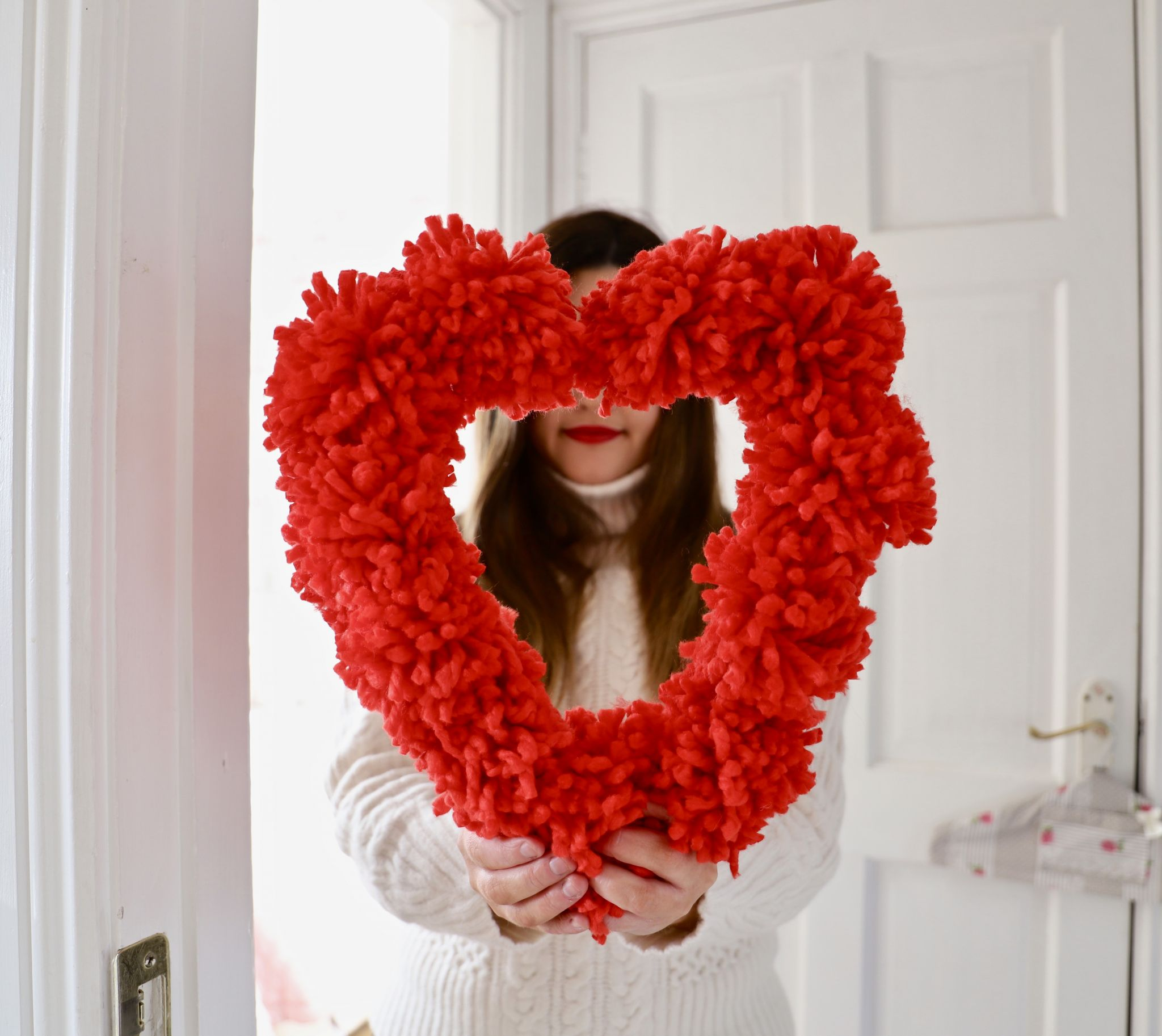 DIY Pom Pom Love Heart Wreath