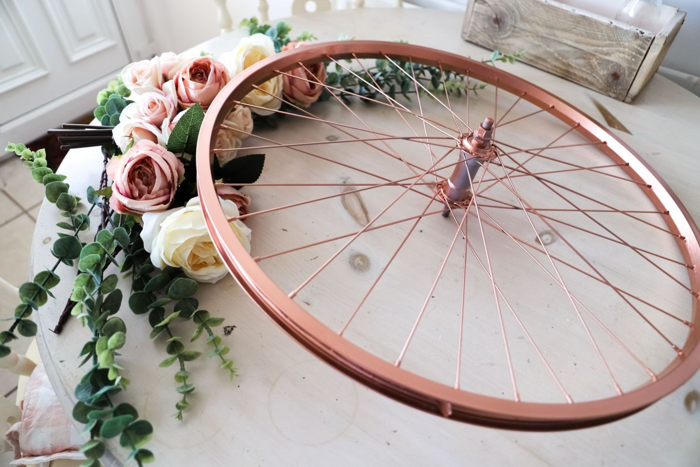 Repurposed and recycled bike wheel