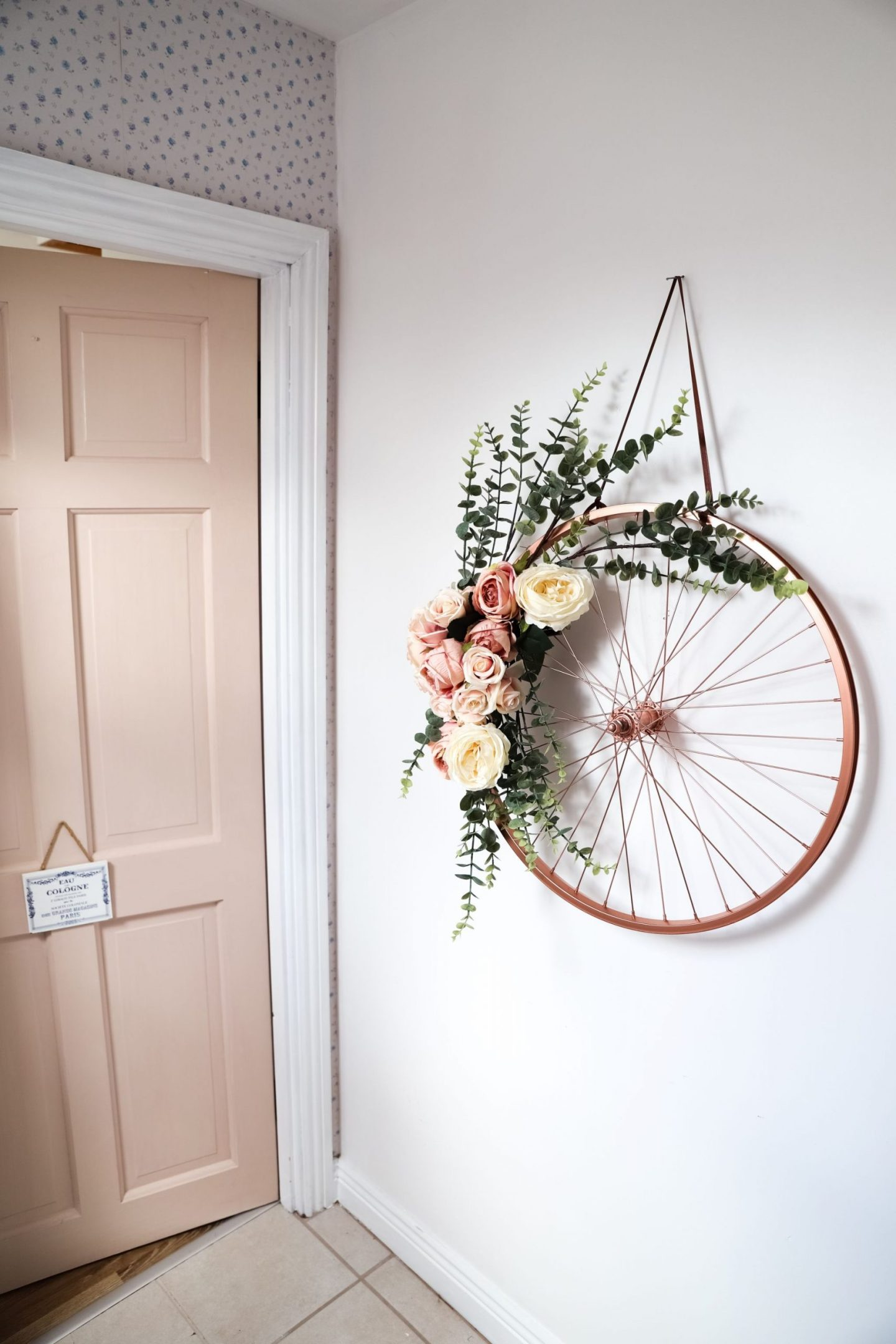 Repurposed and recycled bike wheel