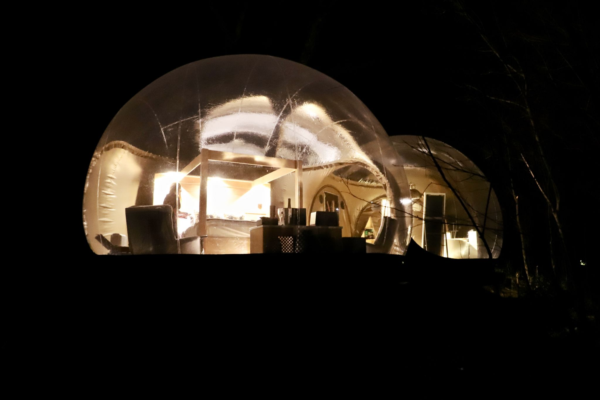 Staying in the bubble dome in Finn Lough, Nothern Ireland