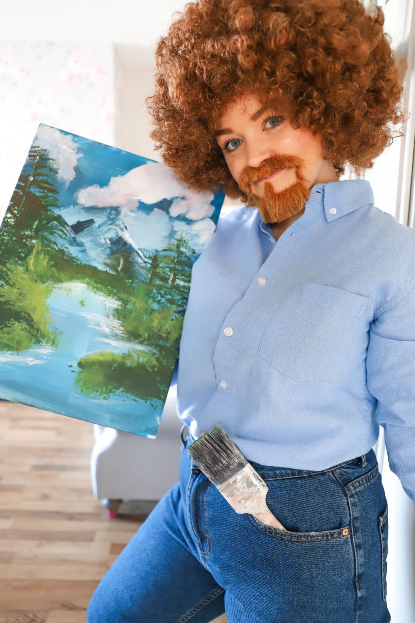 DIY Bob Ross Halloween Costume