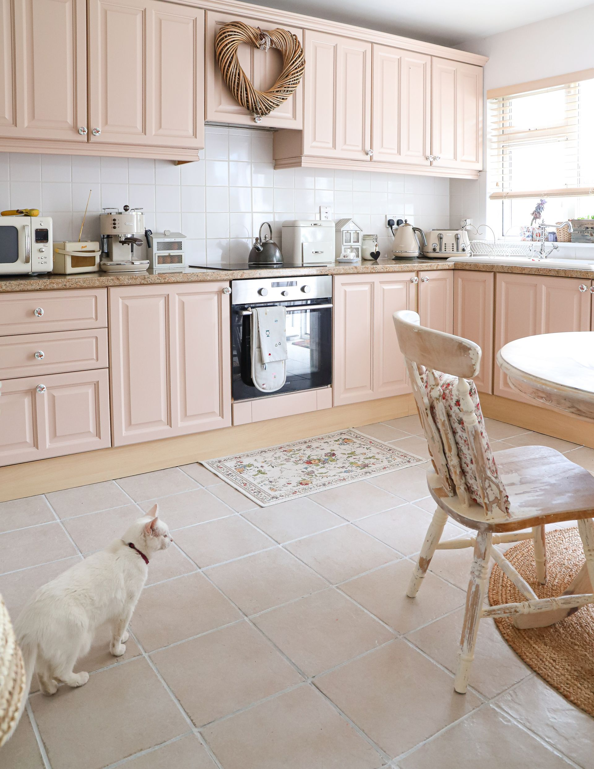 Pink Kitchen Cabinets My Hand Painted Pink Kitchen CabiMakeover   Dainty Dress Diaries %