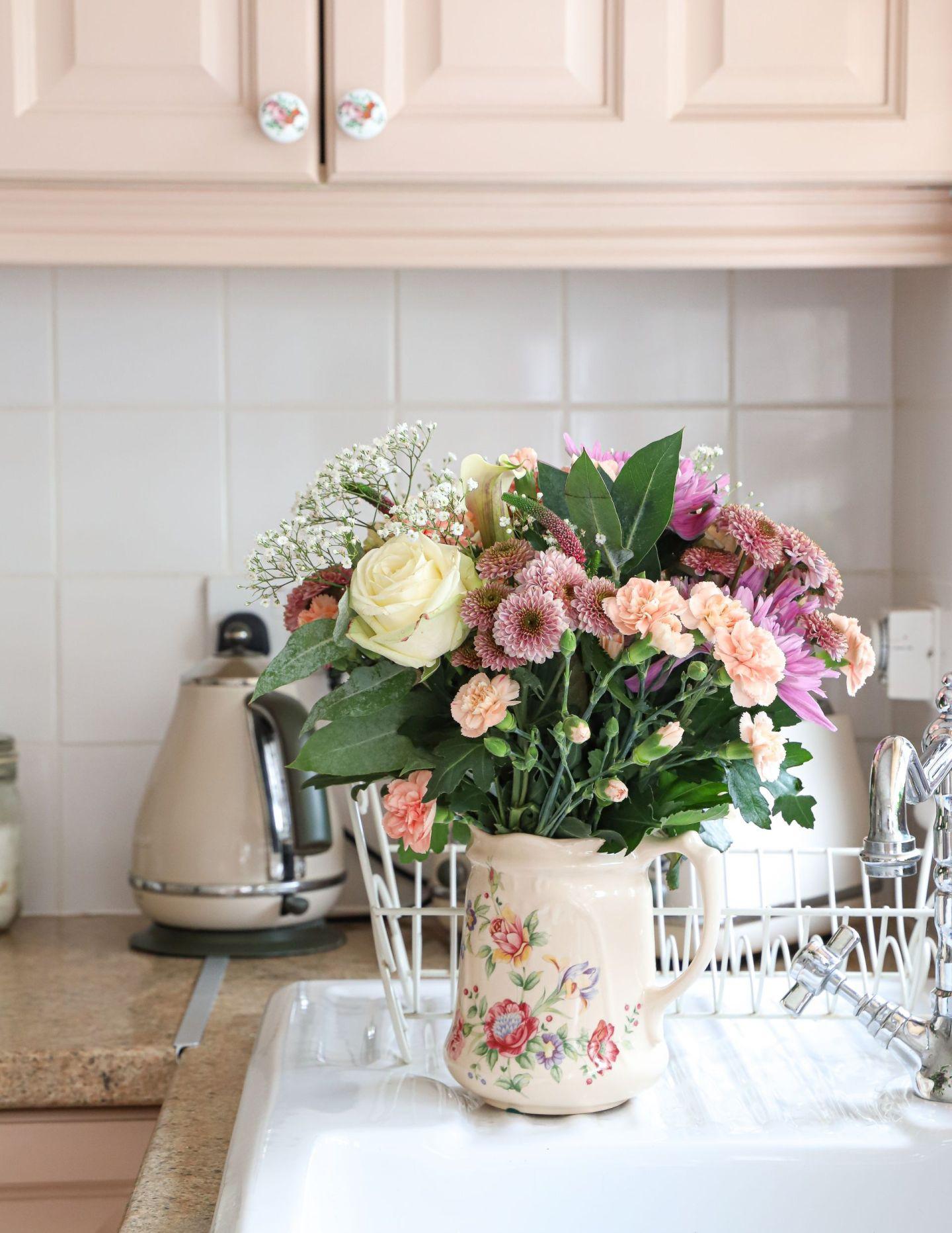 Pink Kitchen Cabinet makeover