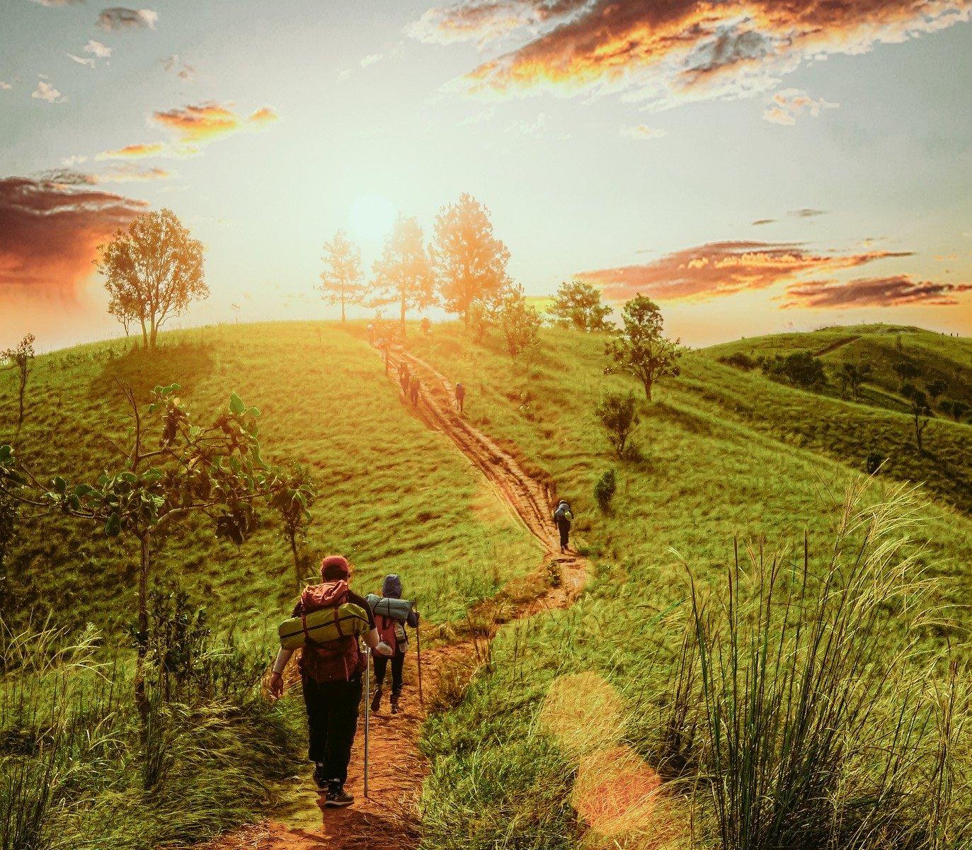 Wanderer auf einem Pfad durchs Grüne, im Hintergrund ein Hügel und die untergehende Sonne