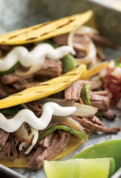 Beef brisket tacos with sour cream