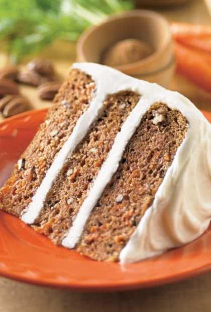 carrot cake on orange plate