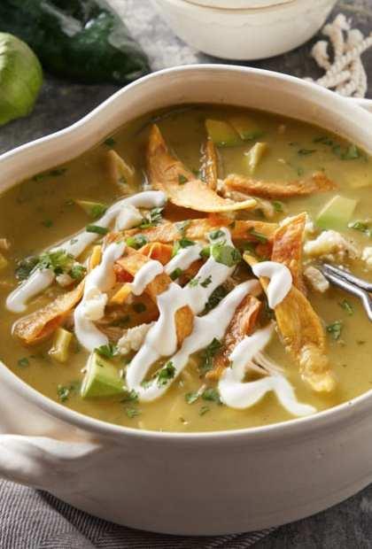 tomatillo tortilla soup with sour cream