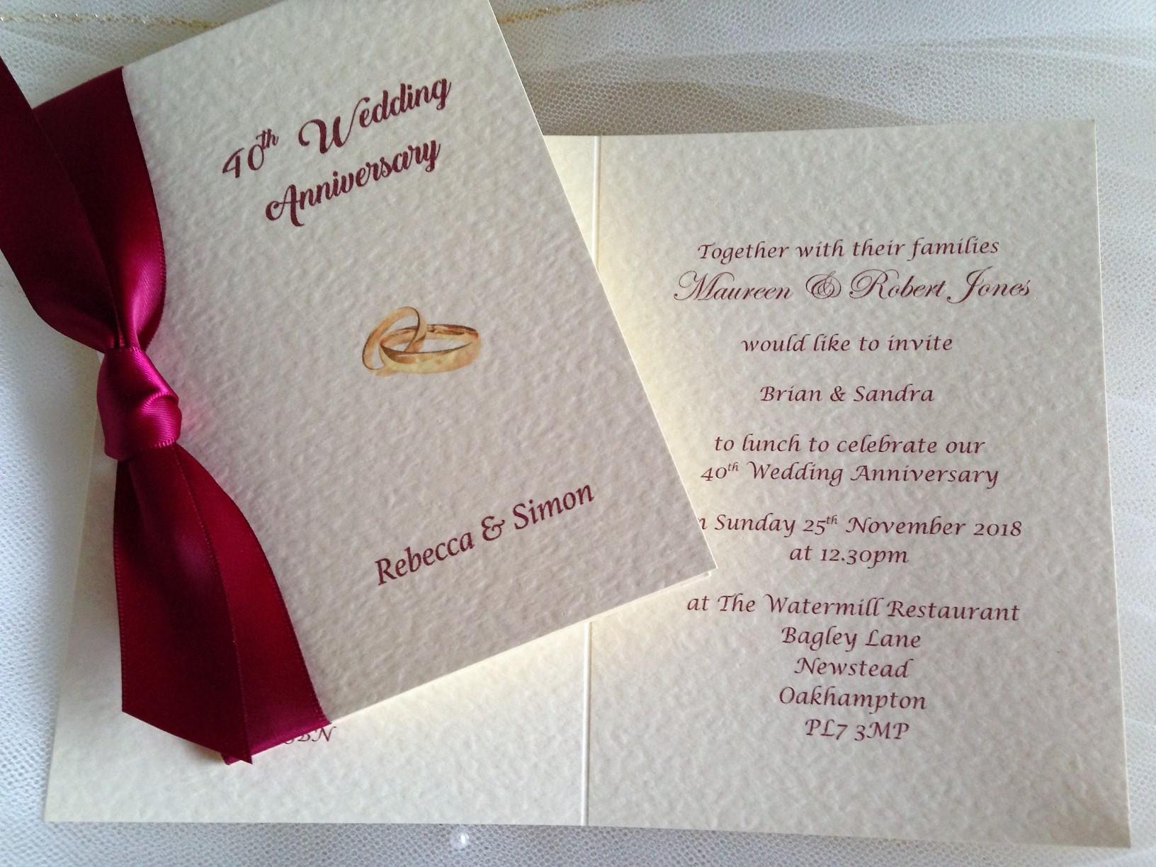 Rings Wedding Anniversary Invitations 1 25th 40th 50th 60th Invites
