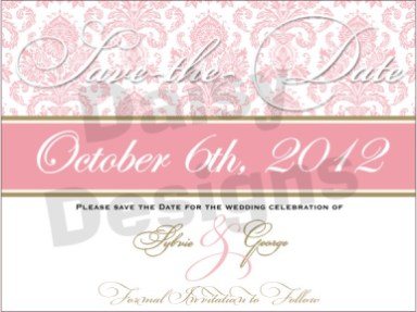 Light Pink Damask - Save the Date 3
