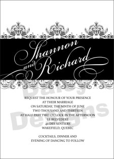 Wedding Floral Lace BW invite