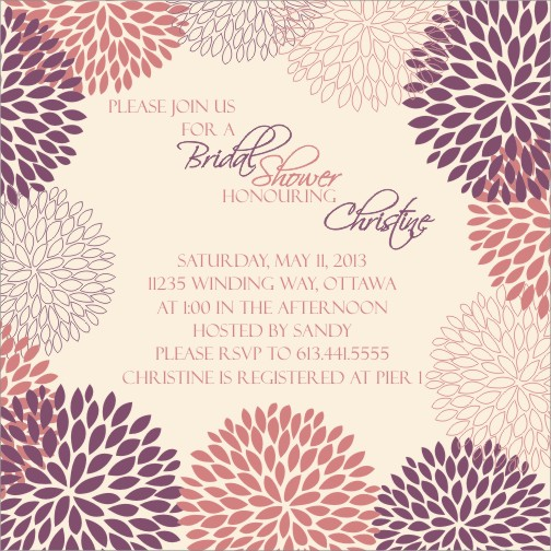 Bridal Shower Daisy Burst Plum