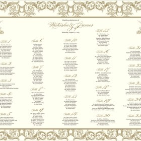 Ornate Gold Filigree Table Chart