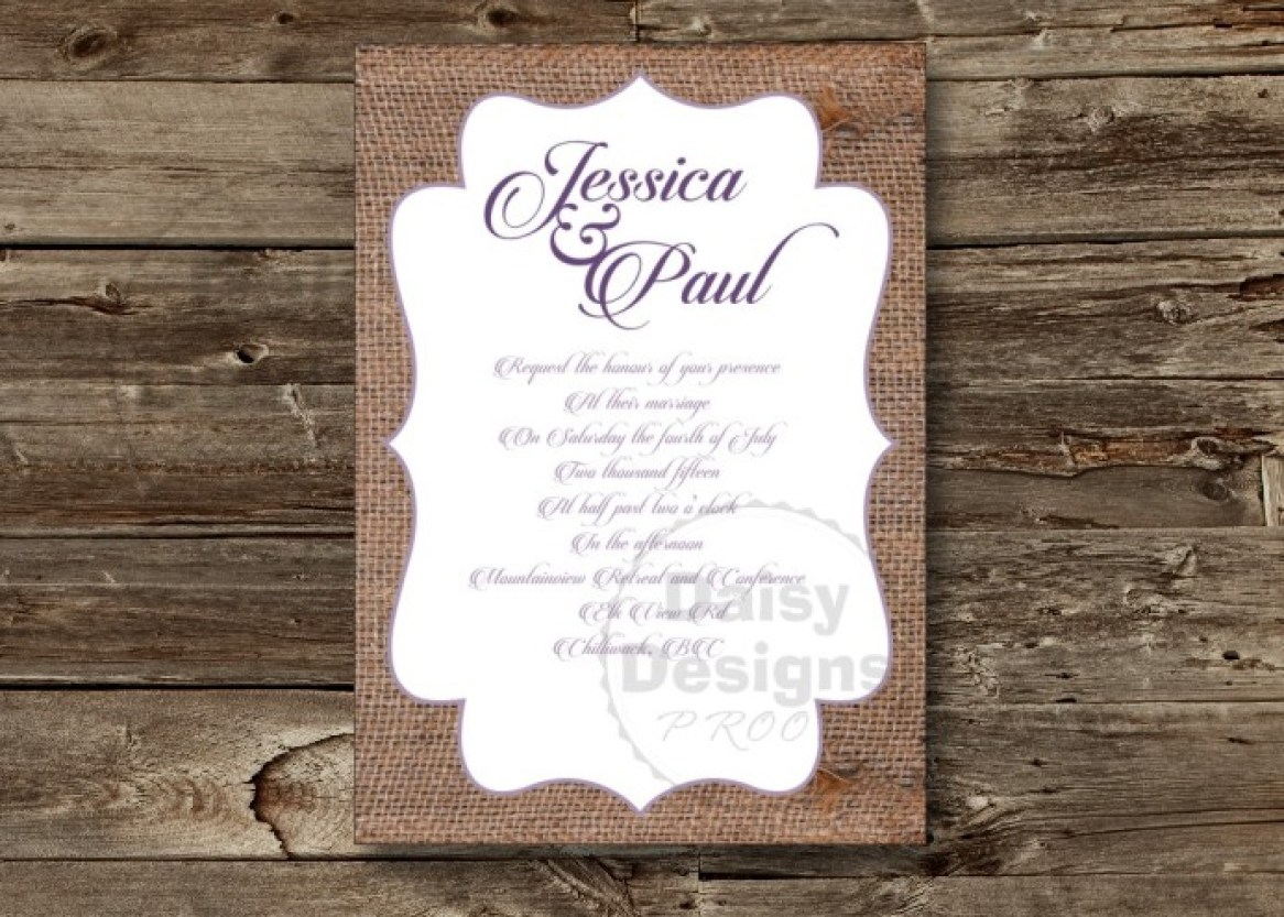 Just Burlap invitation on barnboard background