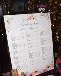 Cinderella Floral Seating chart